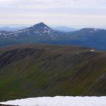 Fra Gorzelvtinden nord mot Blåfjell og Tromsdalstinden